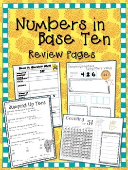 Freebie!  Numbers in Base Ten Review Pages