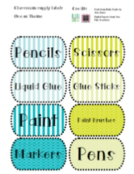 Freebie: Ocean Themed Classroom Labels