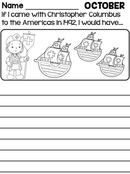 Freebie: October Monthly Writing Prompts - Christopher Columbus