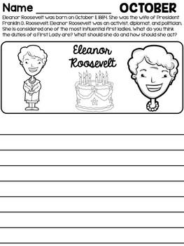 Freebie: October Monthly Writing Prompts - Eleanor Roosevelt