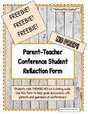 Freebie!  Parent Teacher Conference Student Reflection Form