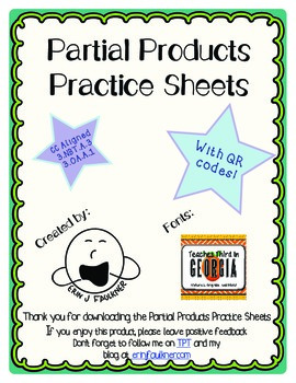 {Freebie} Partial Products Practice Sheets with QR Codes