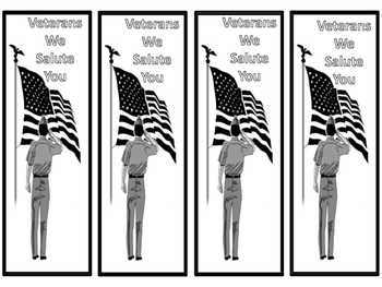 """Free! Patriotic Bookmarks """"We Salute You"""" and """"Veterans We Salute You"""""""