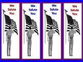"Free! Patriotic Bookmarks ""We Salute You"" and ""Veterans We"