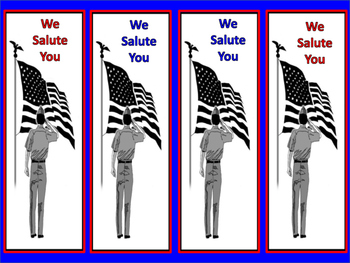 "Free! Patriotic Bookmarks ""We Salute You"" and ""Veterans We"