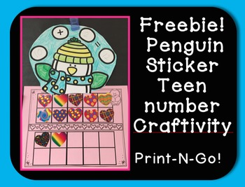 Freebie! Penguin Sticker Teen Number Craftivity Print N Go