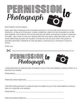 Freebie Permission to Photograph