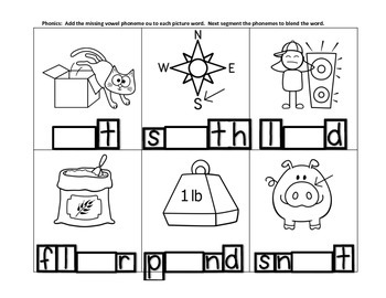 Freebie Phonemic Awareness & Phonics    Diphthongs ou & ow Practice #1