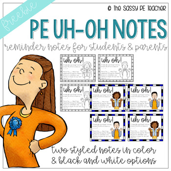 Freebie! Phys Ed Uh-Oh Notes