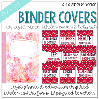 Freebie! Physical Education Binder Cover & Section Headers | Baseball Edition