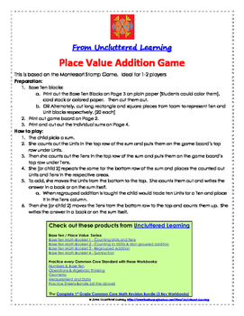 Freebie! Place Value Addition Game (Base Ten)