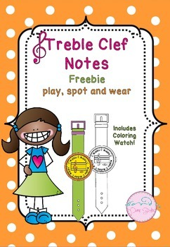 Freebie - Play, Spot and Wear notes in the treble clef for piano and recorder
