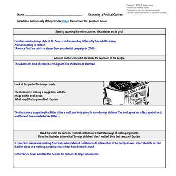 Freebie: Political Cartoon Analysis: Dr. Seuss' WWII Imagery