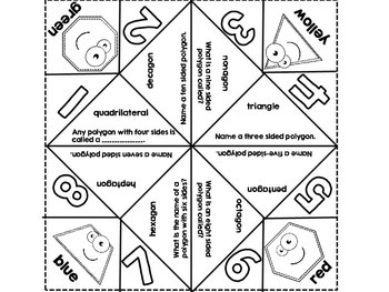 Freebie! Polygon Cootie Catcher-10 or Fewer Sides