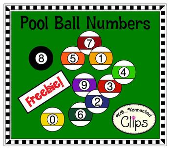 Freebie! Pool Ball Number Clipart  (0-9)