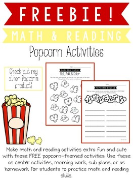 Freebie Popcorn Math and Reading Activities
