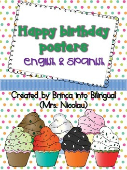 Freebie Posters: Birthdays - Cumpleaños in Engl and Span