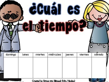 Freebie Posters: Weather Chart - Tabla del tiempo in Engl and Span