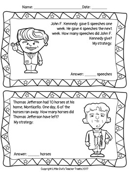 Freebie: Presidents Day Number Stories