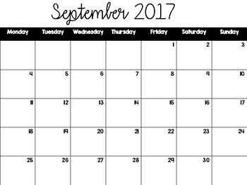 Freebie: Printable Calendars July 2017- June 2018