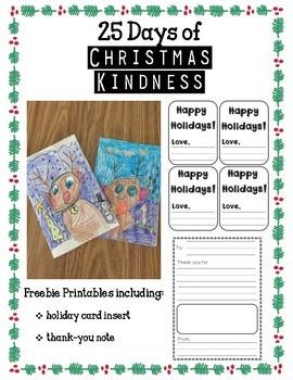 Printables for 25 Days of Christmas Kindness
