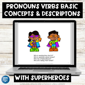FREE - Pronouns, Concepts & Description With Superheroes, No Print, Teletherapy