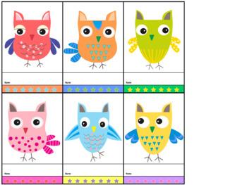 Freebie : Punch Cards : Cutie Owls