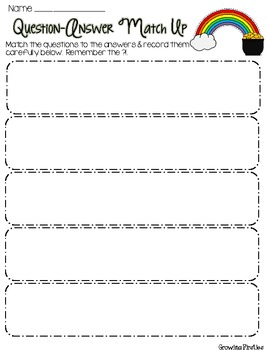 Freebie Question Answer Match Up Sorting Cards for March