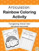 """Freebie! RAINBOW Coloring Activity for Articulation of """"SK"""" /s/ clusters/blends"""