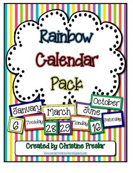 Freebie - Rainbow Striped Calendar Pack