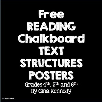Freebie!  Reading Chalkboard Text Structures Posters