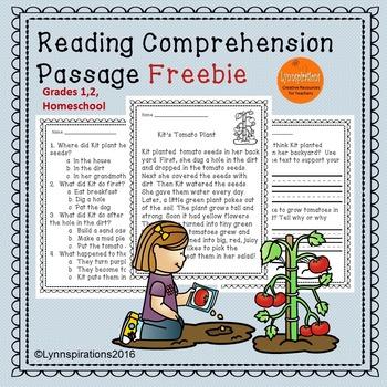 Freebie Reading Comprehension Passages Grades 1-2