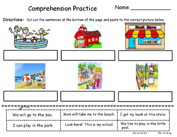Freebie=Reading Comprehension cut and paste