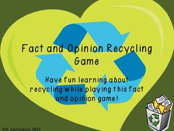 Freebie: Recycling Fact or Opinion Sort