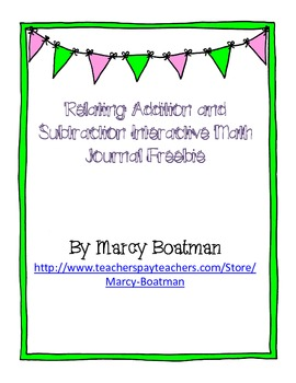 {Freebie} Relate Addition and Subtraction Interactive Journal Activity