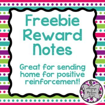 Freebie!  Reward Note for Sending Home
