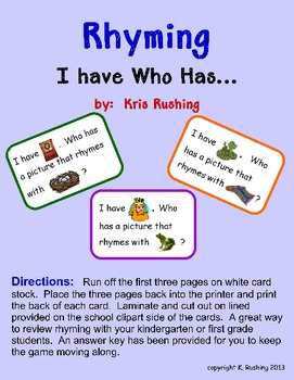 Rhyming- I have Who Has...