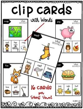 Freebie ~ Rhyming Words (Short a Set) Clip Cards ~