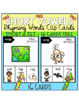 Freebie ~ Rhyming Words (Short a Set) Clip Cards ~
