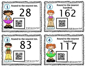Freebie Rounding, Ordering Numbers, and Number Form with QR Codes Practice