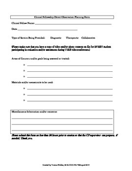 Freebie - SLP Clinical Fellowship Supervision Packet