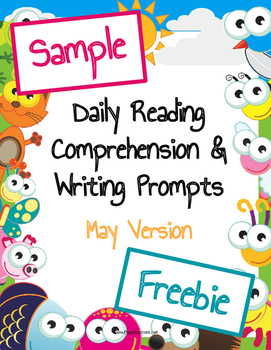 Freebie Sample Daily Reading Comprehension and Writing Prompts May Version