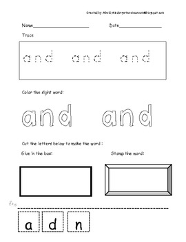 FREE Sample Dolch Sight word Worksheets
