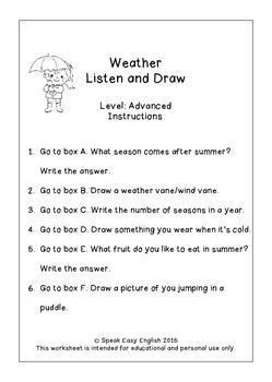 {~Freebie~} Listen & Draw (Weather Vocabulary)