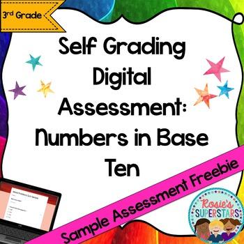 Freebie Sample Numbers in Base Ten Self-Grading Digital As