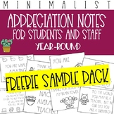 Freebie Sample Pack - Positive Staff Appreciation Notes - Year-Round