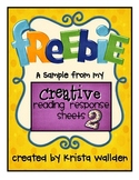 Freebie! {Sample Reading Response Sheets}
