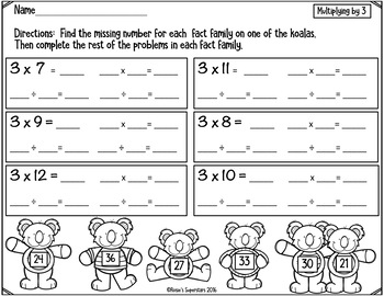 Freebie Sampler: Multiplication and Division Fact Families