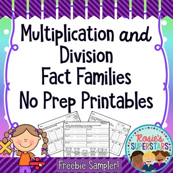 Multiplication and Division Fact Families: Freebie Sampler