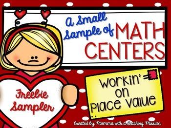 Freebie Sampler of Place Value Centers Valentines Math